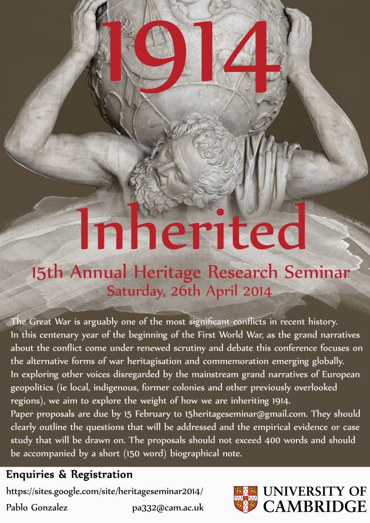 15th Annual Cambridge Heritage Research Seminar: 1914 Inherited